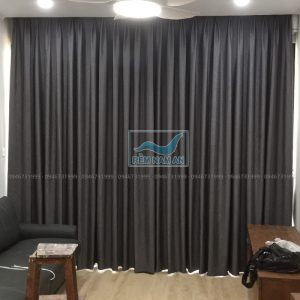 Làm rèm âm trần phòng khách bằng vải