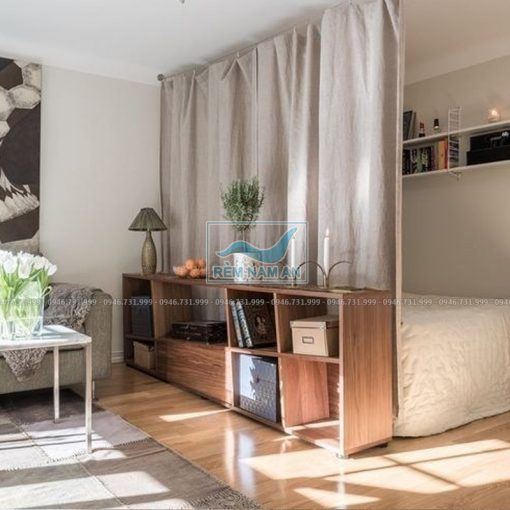 Rèm ngăn phòng khách và phòng ngủ bằng rèm vải