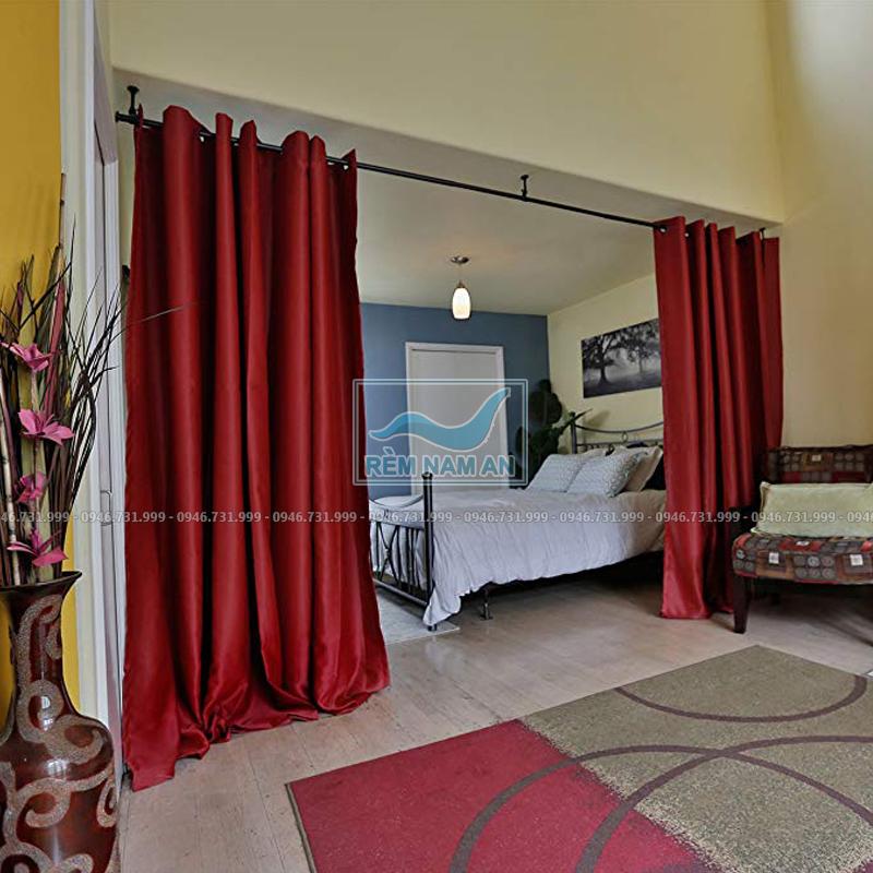 Rèm ngăn phòng khách và phòng ngủ bằng vải