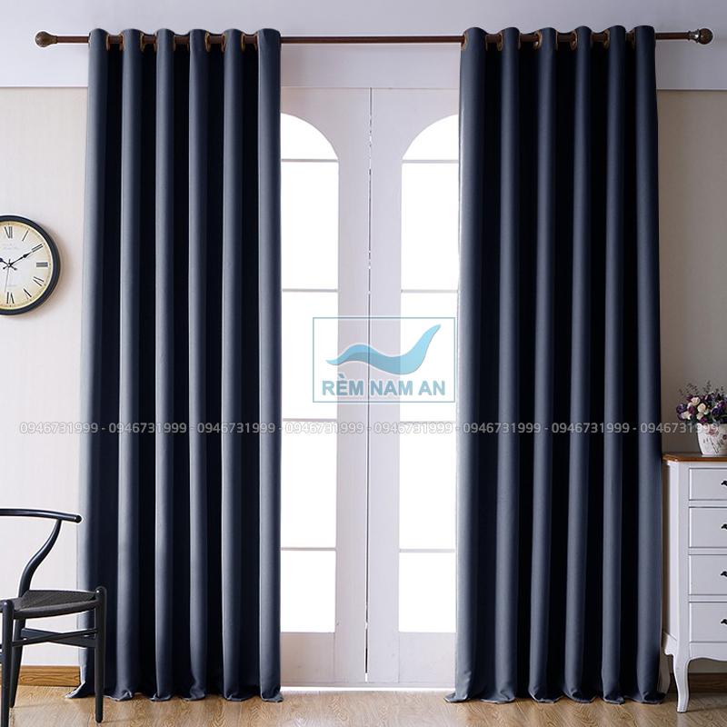 Rèm vải 1 màu cửa chính đẹp