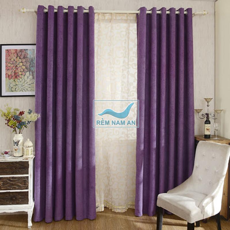 Rèm vải màu tím phòng ngủ