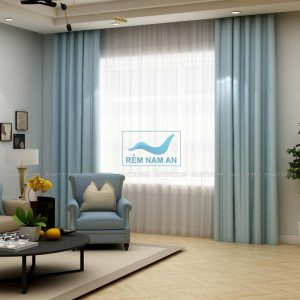 Rèm vải mau xanh dương phòng khách