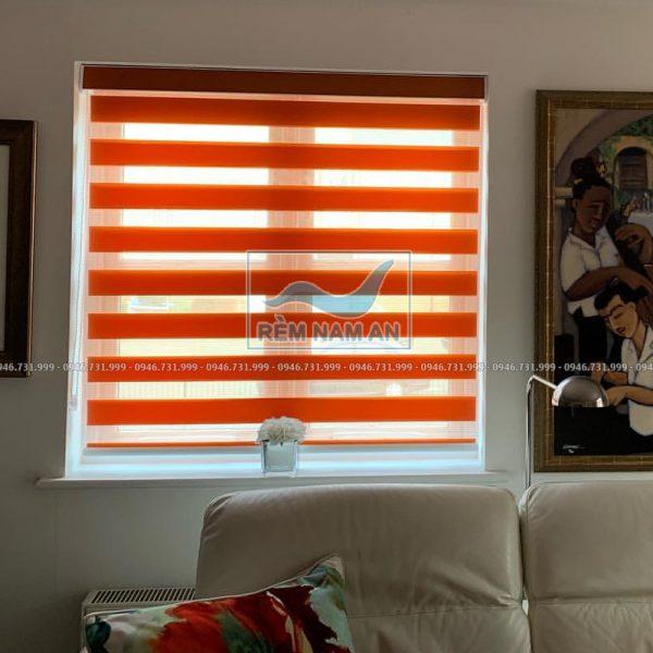 Rèm cầu vồng màu cam cửa sổ phòng khách