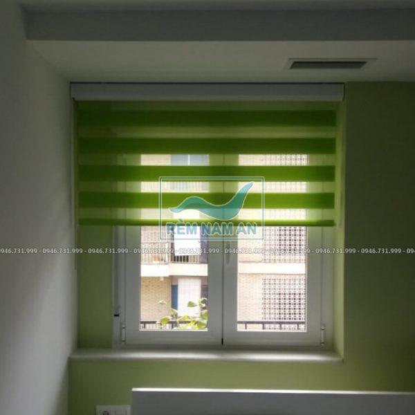 Rem câu vồng màu xanh lá cây cho cửa sổ phòng ngủ