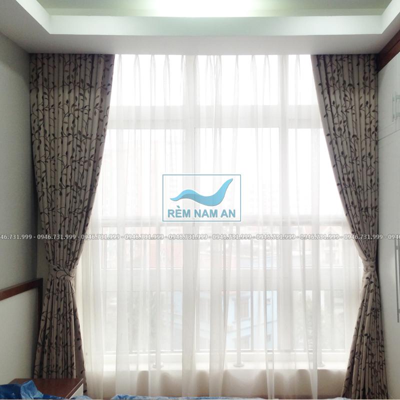 Rèm âm trần phòng ngủ bằng vải cao cấp