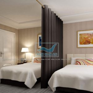 Rèm ngăn giường ngủ bằng vải mày ghi đậm