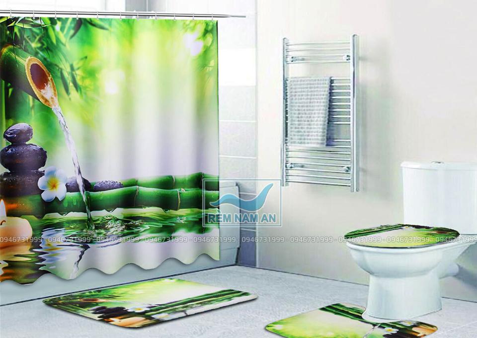 Dùng rèm làm vách ngăn phòng tắm
