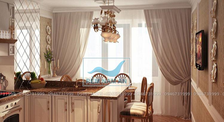Rèm phòng bếp thông phòng khách bằng vải cao cấp