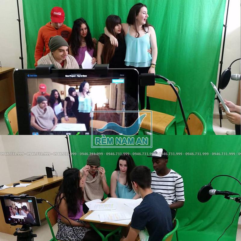 Rèm phông studio Backdrop vải xanh