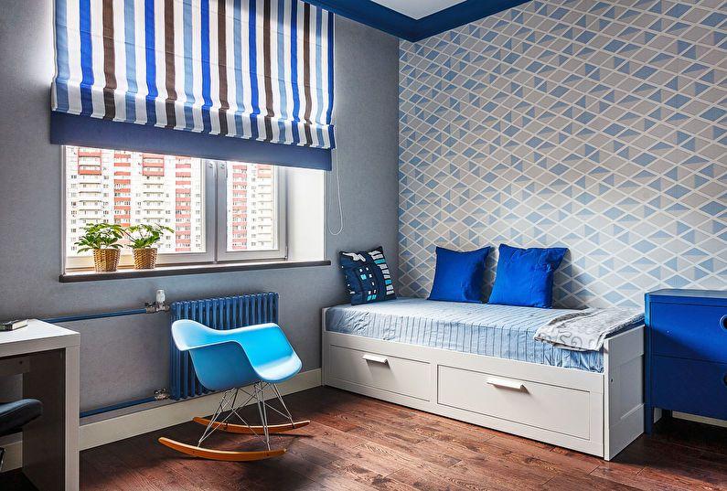 Rèm cuốn phòng trẻ màu xanh dương